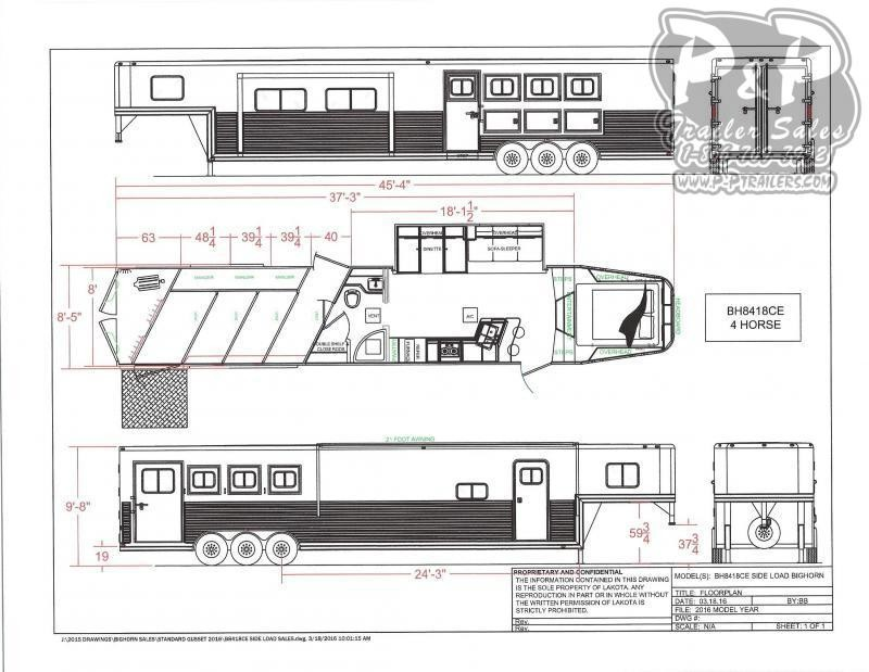 2021 Lakota Bighorn BH8418TCERSL 4 Horse Slant Load Trailer 18 FT LQ With Slides w/ Ramps