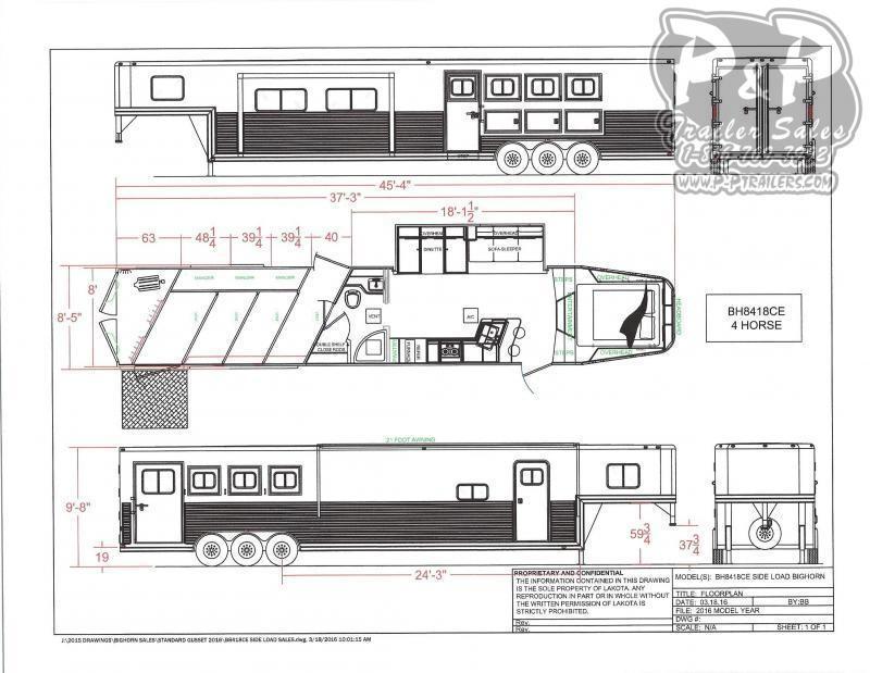 2021 Lakota Bighorn BH8418TCERSL 4 Horse Slant Load Trailer 18 FT LQ With Slides w/ Ramps