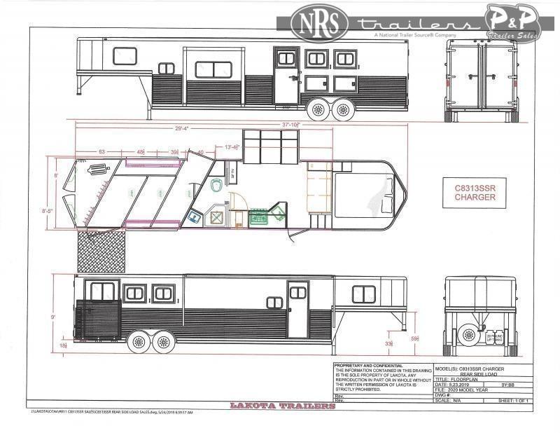 2022 Lakota Charger C8313SRRSL 3 Horse Slant Load Trailer 13 FT LQ w/ Slideouts