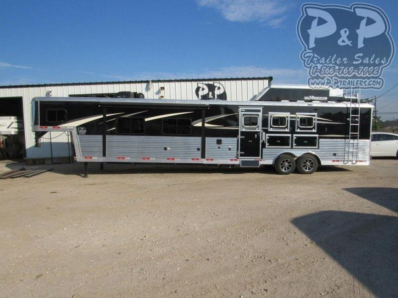 2021 Bison Trailers Premiere 8317PRDS 3 Horse Slant Load Trailer 17 FT LQ With Slides