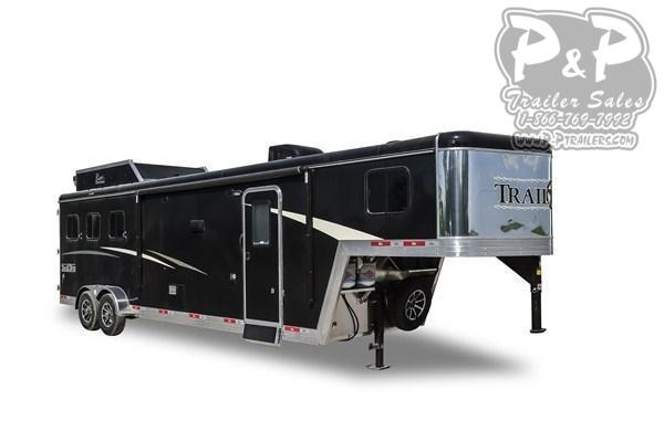 2020 Bison Trailers Trail Boss 7311TB-SO 3 Horse Slant Load Trailer 0 FT LQ With Slides