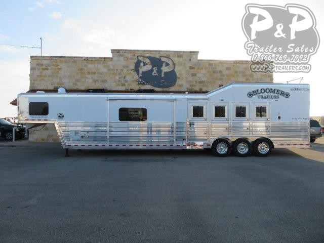 2021 Bloomer 8417 PC Load Outlaw Conversions 4 Horse Slant Load Trailer 17 FT LQ With Slides w/ Ramps