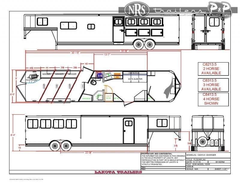 2022 Lakota Charger C8413.5NS 4 Horse Slant Load Trailer 13.5 FT LQ