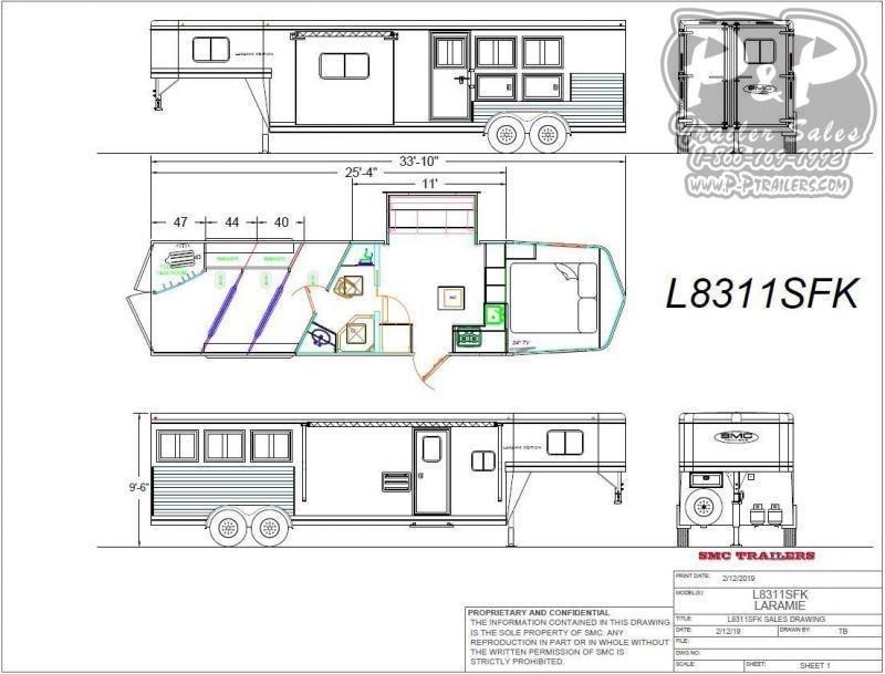 2021 SMC Horse Trailers SL8311SFK 3 Horse Slant Load Trailer 11 FT LQ With Slides