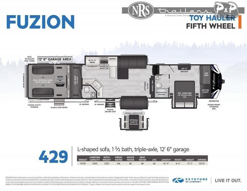 """2021 Keystone RV Fuzion 429 540 """" Toy Hauler RV"""