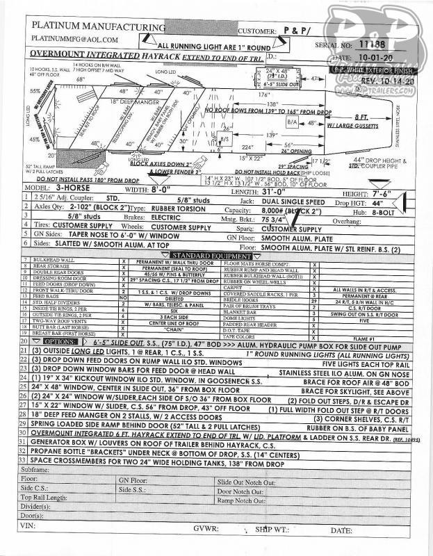 2021 Platinum Coach 8315RSLOL 3 Horse Slant Load Trailer 15' LQ w/ Ramps