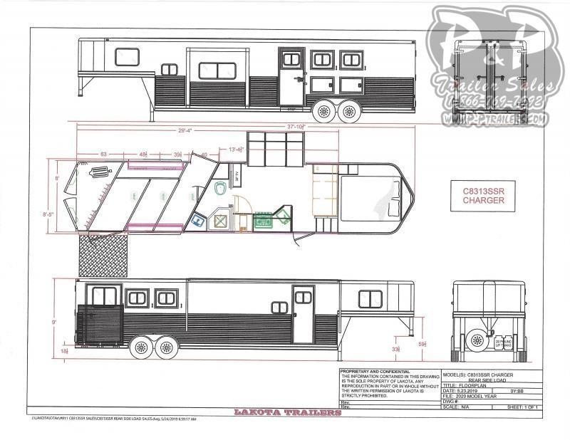 2021 Lakota Charger C8313SRRSL 3 Horse Slant Load Trailer 13 FT LQ With Slides w/ Ramps