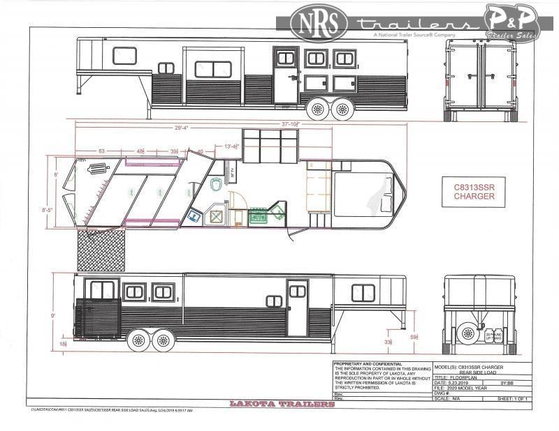 2021 Lakota Charger C8313SRRSL 3 Horse Slant Load Trailer 13 FT LQ w/ Slideouts