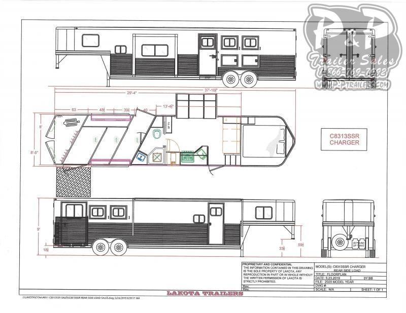 2021 Lakota Charger C8315RSL 3 Horse Slant Load Trailer 13 FT LQ With Slides w/ Ramps