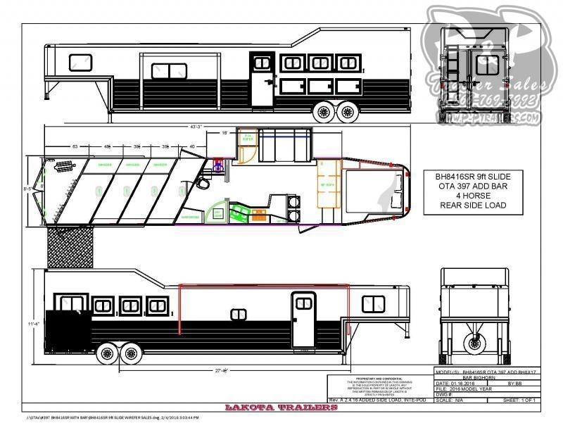 2021 Lakota Bighorn BH8416TSRBRSL 4 Horse Slant Load Trailer 16 FT LQ With Slides w/ Ramps
