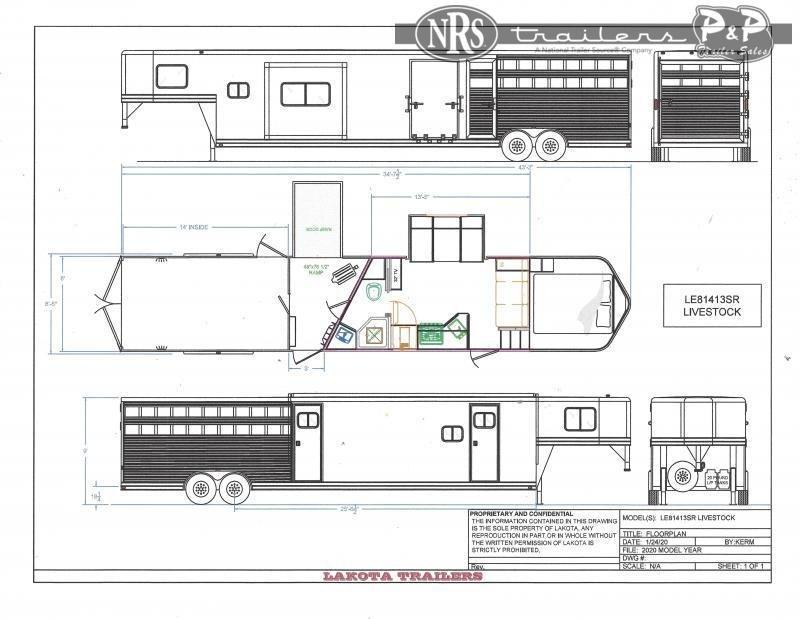 2022 Lakota Charger LE81413 34 ' Livestock Trailer LQ