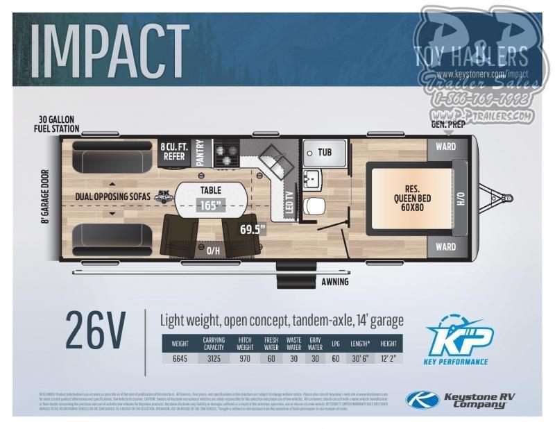 """2021 Keystone RV Impact 26V 366 """" Toy Hauler RV"""