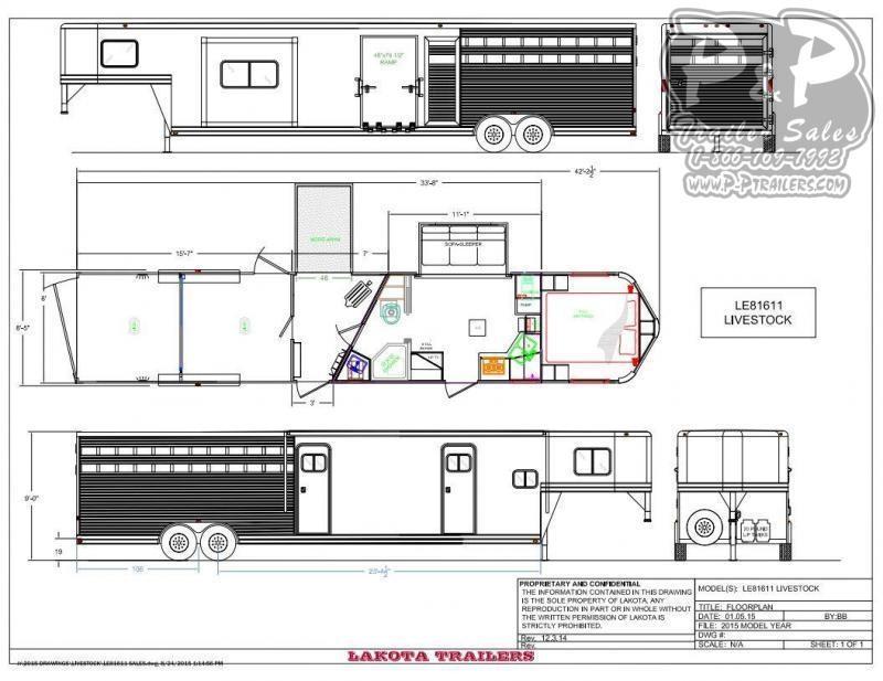 2021 Lakota Charger LE81611 33 ' Livestock Trailer LQ