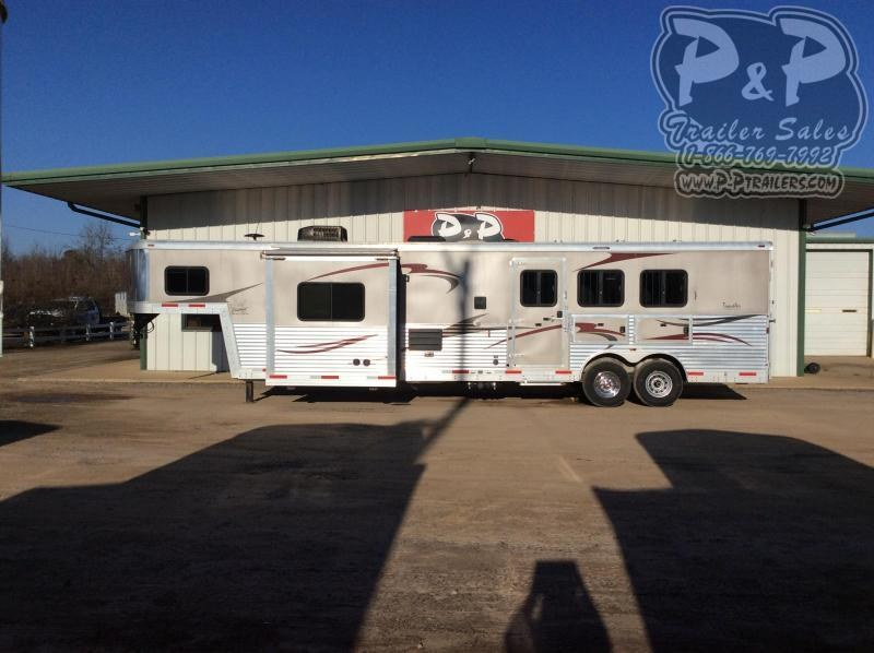 2012 Bison Trailers 8314 Traveler 3 Horse Slant Load Trailer 14 FT LQ With Slides w/ Ramps
