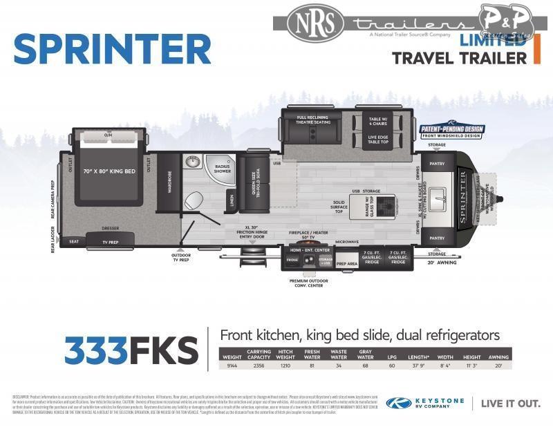 2021 Keystone RV Sprinter Limited 333FKS 37 ' Travel Trailer RV