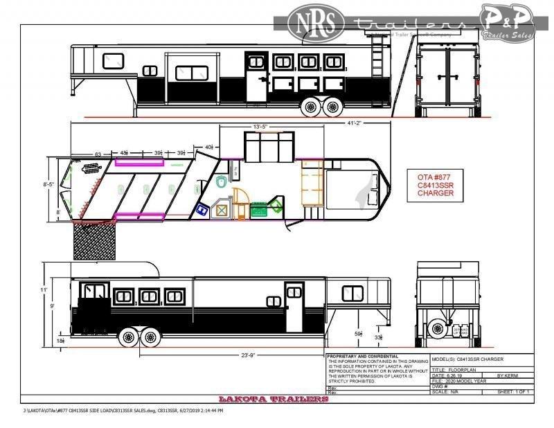 2020 Lakota Charger C8413SRRSL 4 Horse Slant Load Trailer 13 FT LQ w/ Slideouts