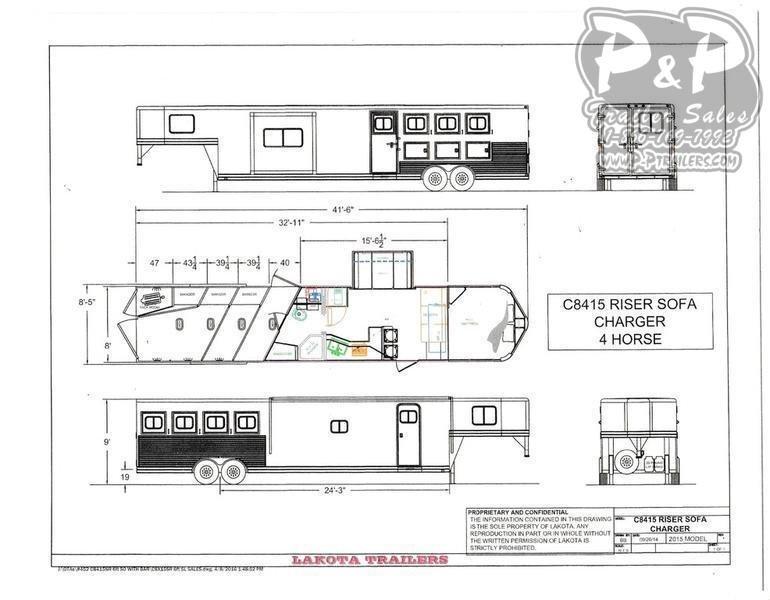 2021 Lakota Charger C8415SR 4 Horse Slant Load Trailer 15 FT LQ With Slides