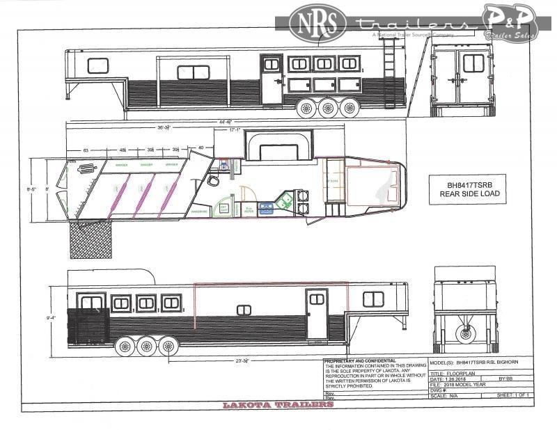 2022 Lakota Bighorn BH8417TRSL 4 Horse Slant Load Trailer 17 FT LQ With Slides w/ Ramps
