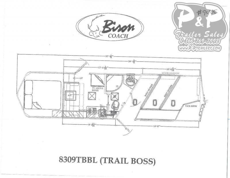 2020 Bison Trailers 8309TBBL 3 Horse Slant Load Trailer 9 FT LQ