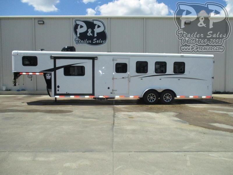 2021 Bison Trailers Trail Hand 7409THSO 4 Horse Slant Load Trailer 9 FT LQ With Slides