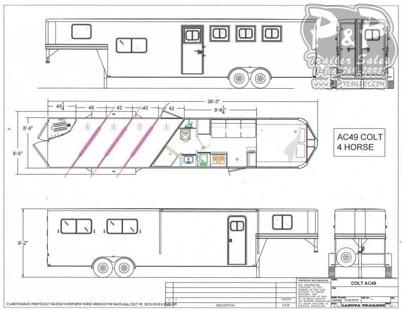 2021 Lakota AC49 4 Horse Slant Load Trailer 9 FT LQ