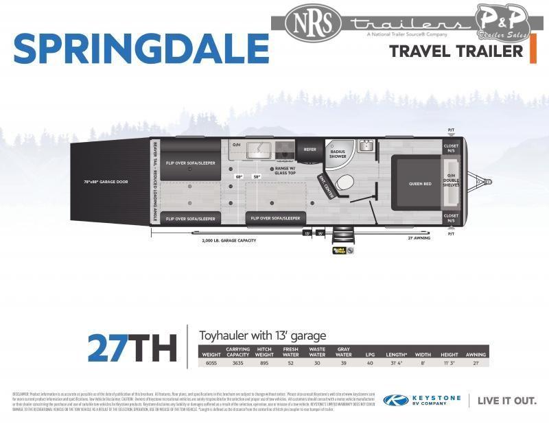 2021 Keystone RV Springdale 27TH 376 Toy Hauler RV