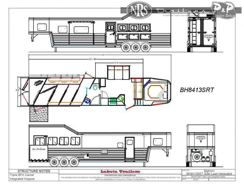2022 Lakota BH8413SRRSL 4 Horse Slant Load Trailer 13 FT LQ With Slides w/ Ramps