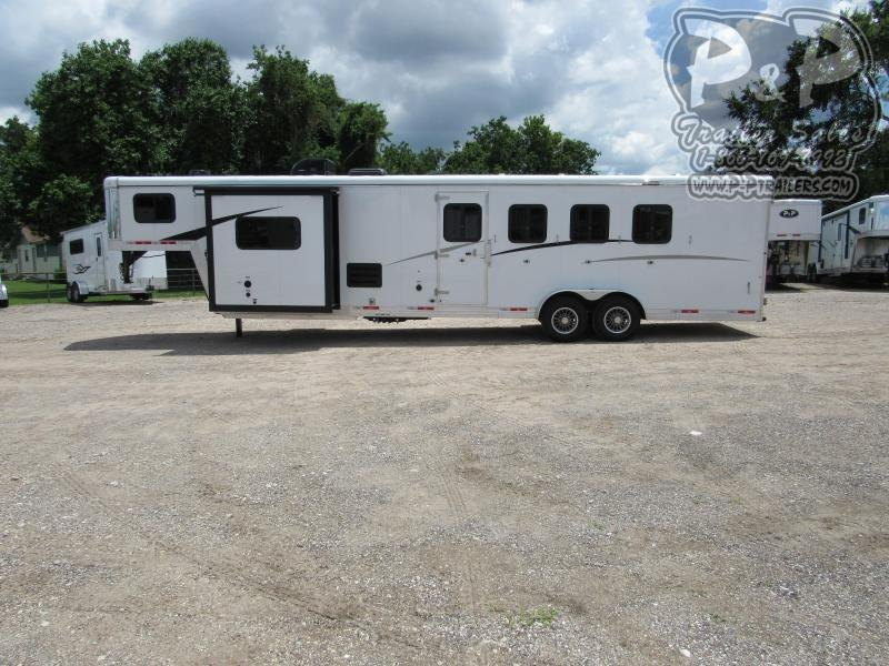 2021 Bison Trailers Trail Boss Slide-Out 7411TBSO 4 Horse Slant Load Trailer 11 FT LQ