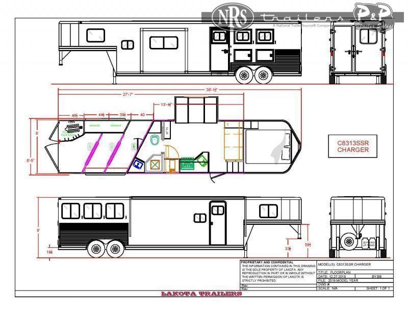 2022 Lakota Charger C8313SR 3 Horse Slant Load Trailer 13 FT LQ w/ Slideouts