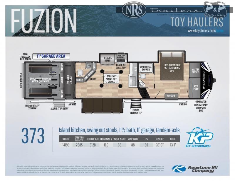 """2021 Keystone RV Fuzion 373 468 """" Toy Hauler RV"""