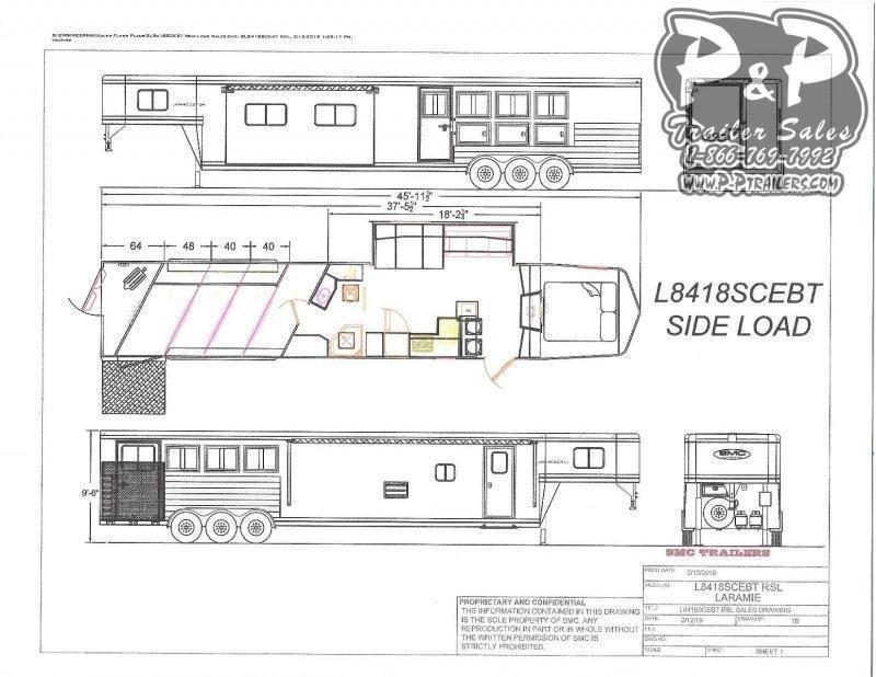 2021 SMC Horse Trailers Laramie SL8418SCEBT 4 Horse Slant Load Trailer 18 FT LQ With Slides w/ Ramps