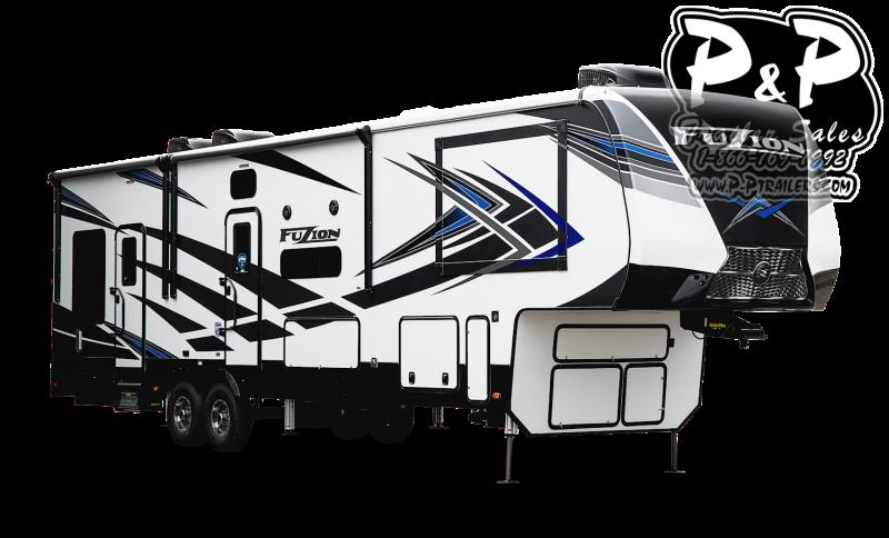 """2021 Keystone RV Fuzion 410 523 """" Toy Hauler RV"""