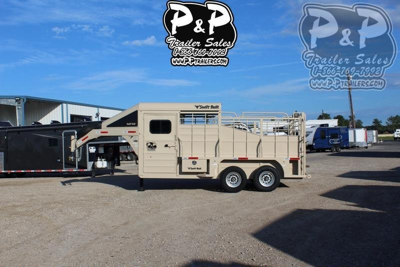 2021 Swift Built Trailers 16' Cowboy Half Top 16 ' Livestock Trailer