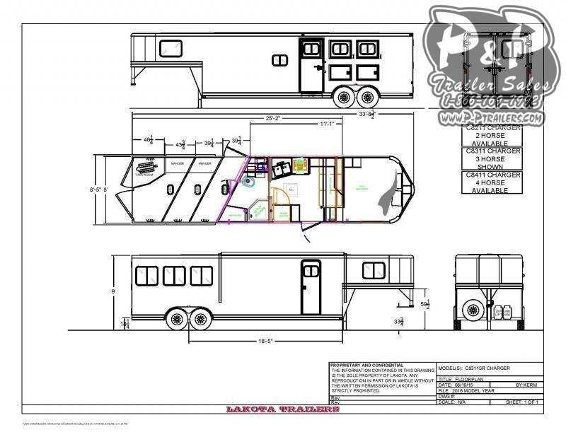2021 Lakota Charger C8311 3 Horse Slant Load Trailer 11 FT LQ