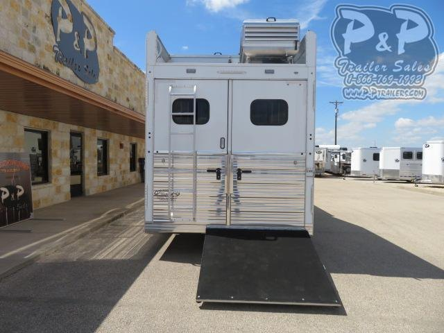 """2021 Bloomer Outlaw Conversions 3 Horse Slant Load Trailer 17'2"""" FT LQ With Slides w/ Ramps"""
