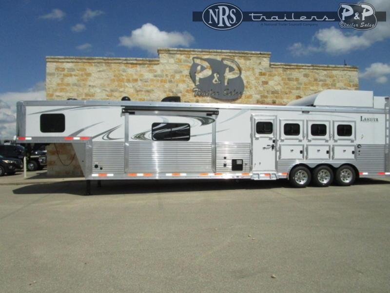 2021 Lakota Bighorn BH8417 4 Horse Slant Load Trailer 17 FT LQ With Slides w/ Ramps