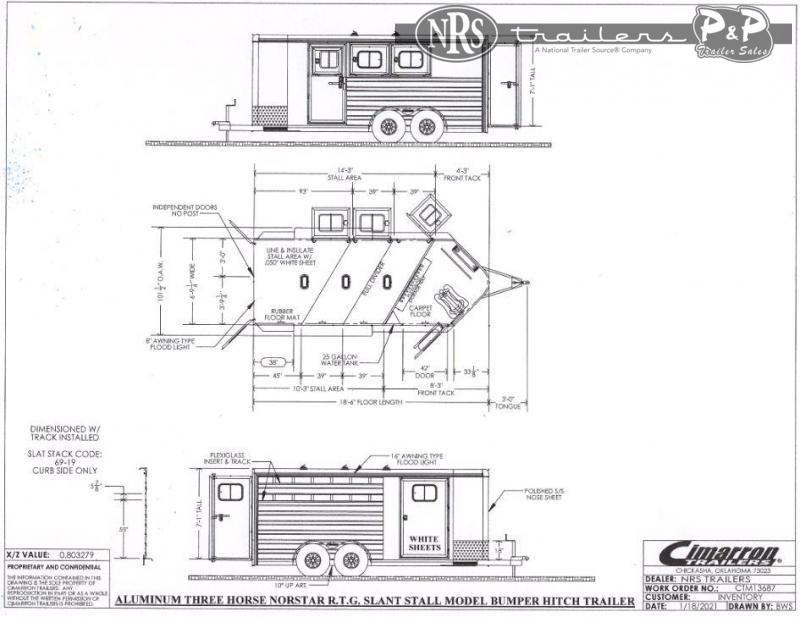 2022 Cimarron Trailers Norstar 3 Horse Slant Load Trailer