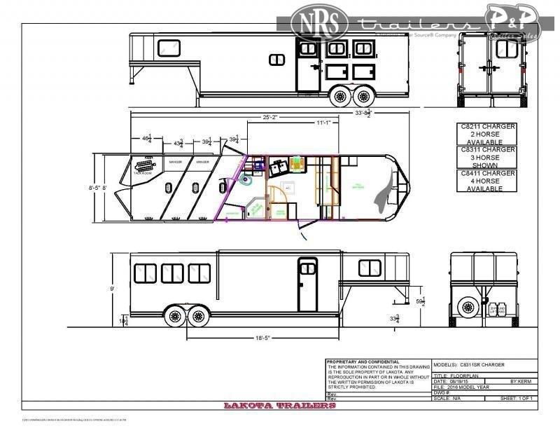 2022 Lakota Charger C8311SRNS 3 Horse Slant Load Trailer 11 FT LQ