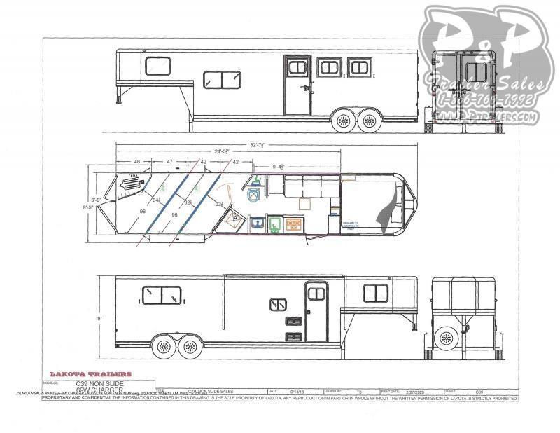 2021 Lakota C39NS 3 Horse Slant Load Trailer 9 FT LQ