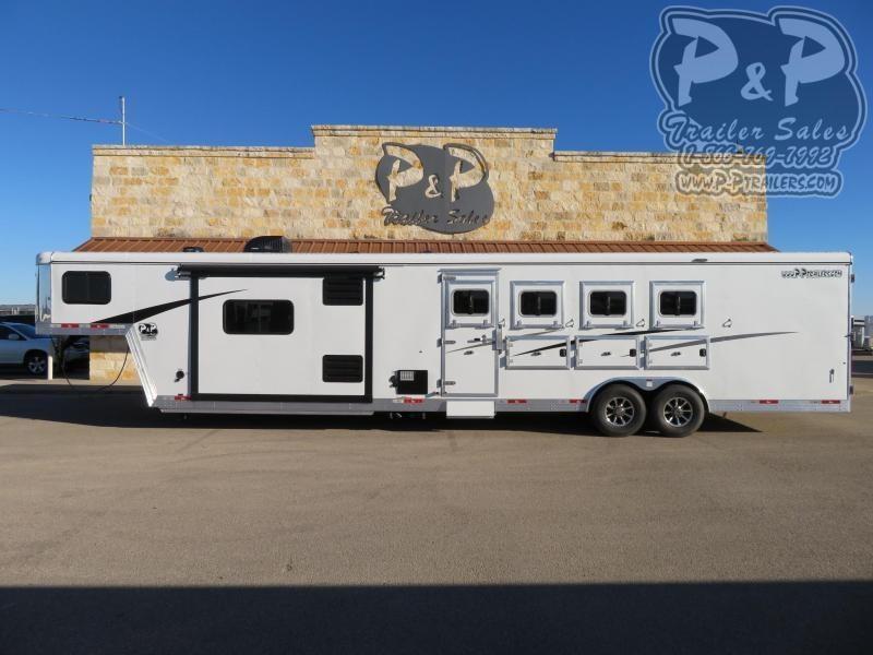 2020 Bison Trailers 8413TBRSL 4 Horse Slant Load Trailer 13 FT LQ With Slides w/ Ramps