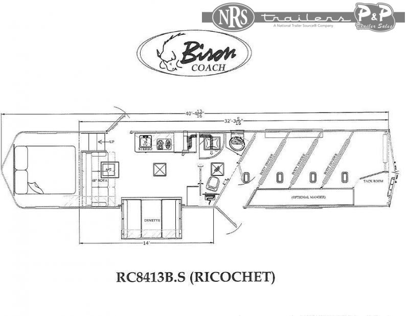 2021 Bison Trailers Ricochet RC8413B.S 4 Horse Slant Load Trailer 13 FT LQ