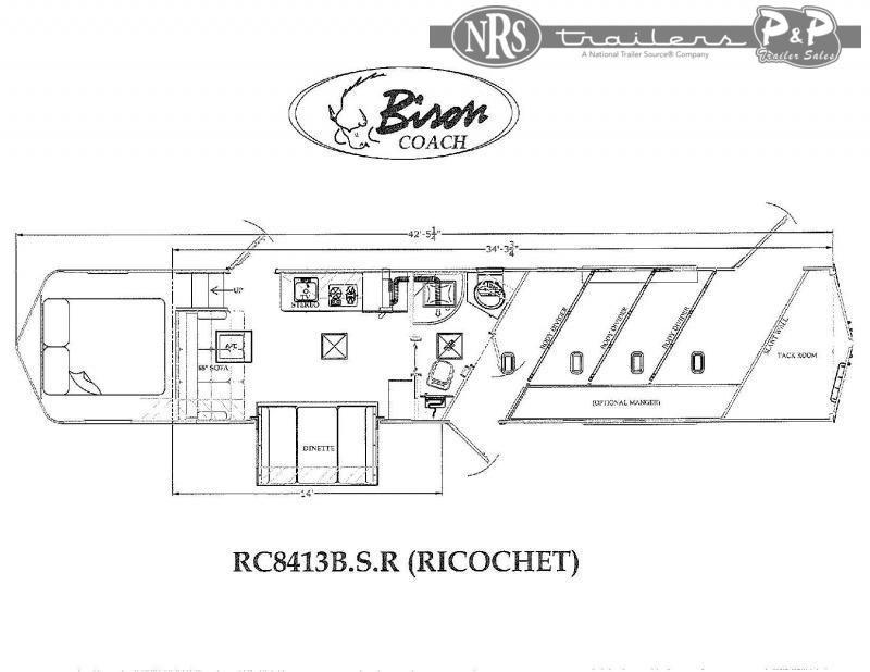 2021 Bison Trailers RC8413B.S.R 4 Horse Slant Load Trailer 13 FT LQ w/ Slideouts