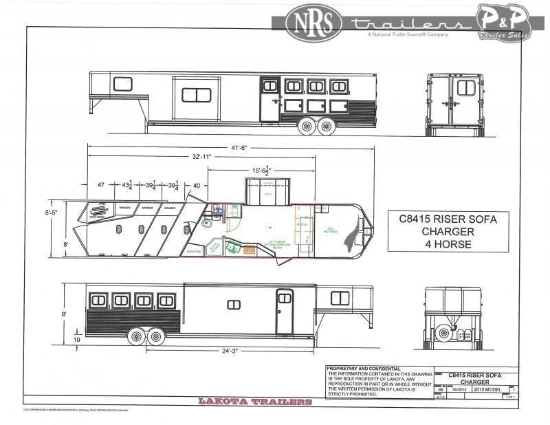 2022 Lakota Charger C8415SR 4 Horse Slant Load Trailer 15 FT LQ With Slides