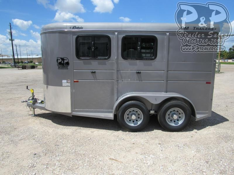 2021 CM Dakota 2H 14x6'x6'6 w/Drop Windows 2 Horse Slant Load Trailer