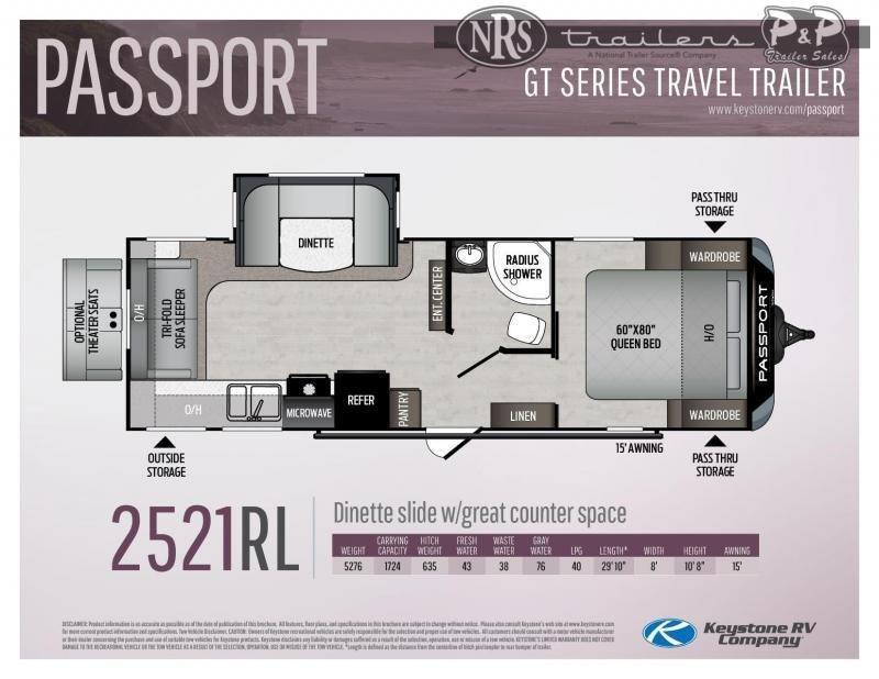 2022 Keystone RV Passport 2521RL GT 29 ' Travel Trailer RV