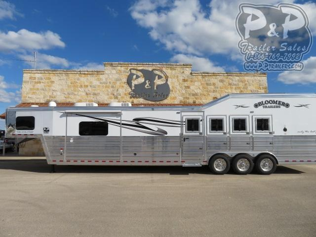 2021 Bloomer PC Load Outlaw Conversion w/ Bunk Beds 4 Horse Slant Load Trailer 17.75 FT LQ With Slides w/ Ramps