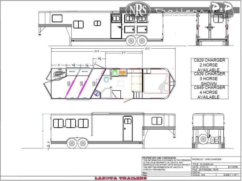 2021 Lakota C839SRNS 3 Horse Slant Load Trailer 9 FT LQ