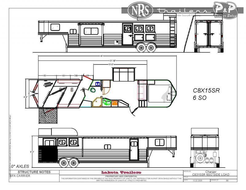 2021 Lakota Charger C8315SRRSL 3 Horse Slant Load Trailer 15 FT LQ w/ Slideouts