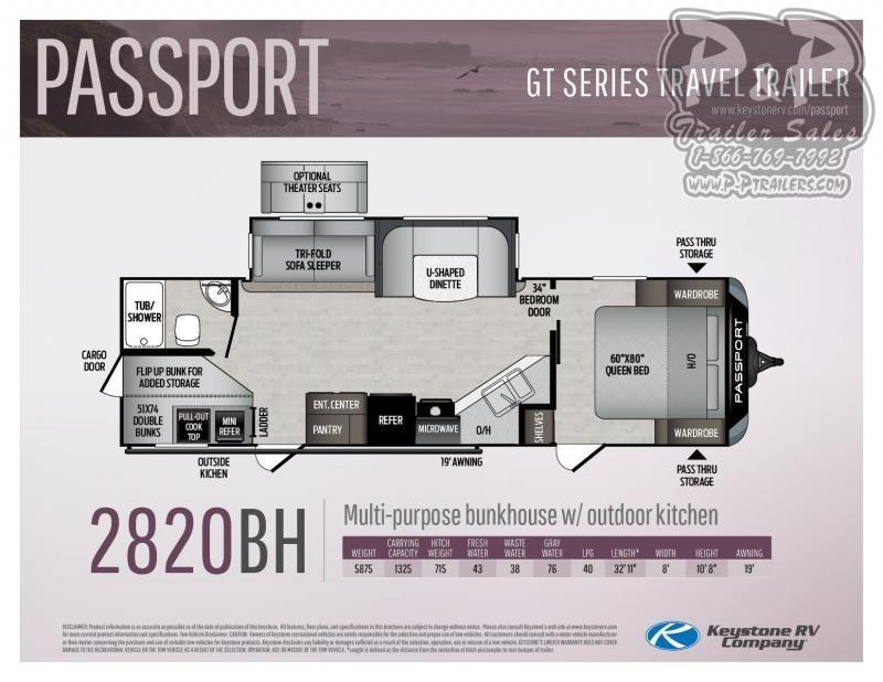 "2021 Keystone RV Passport GT 2820BH 395 "" Travel Trailer RV"