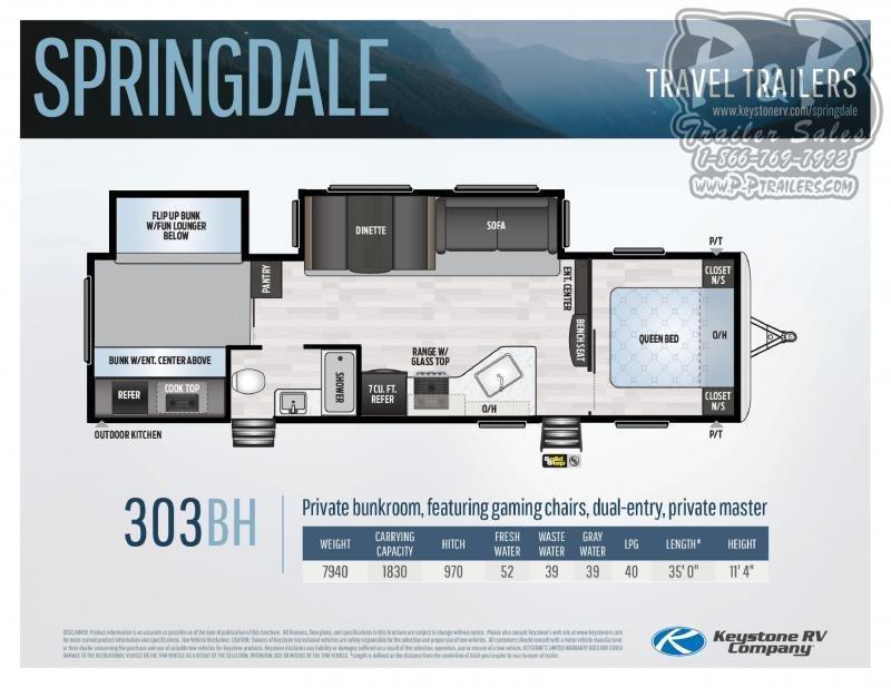 2021 Keystone RV Springdale Springdale 303BH Travel Trailer RV
